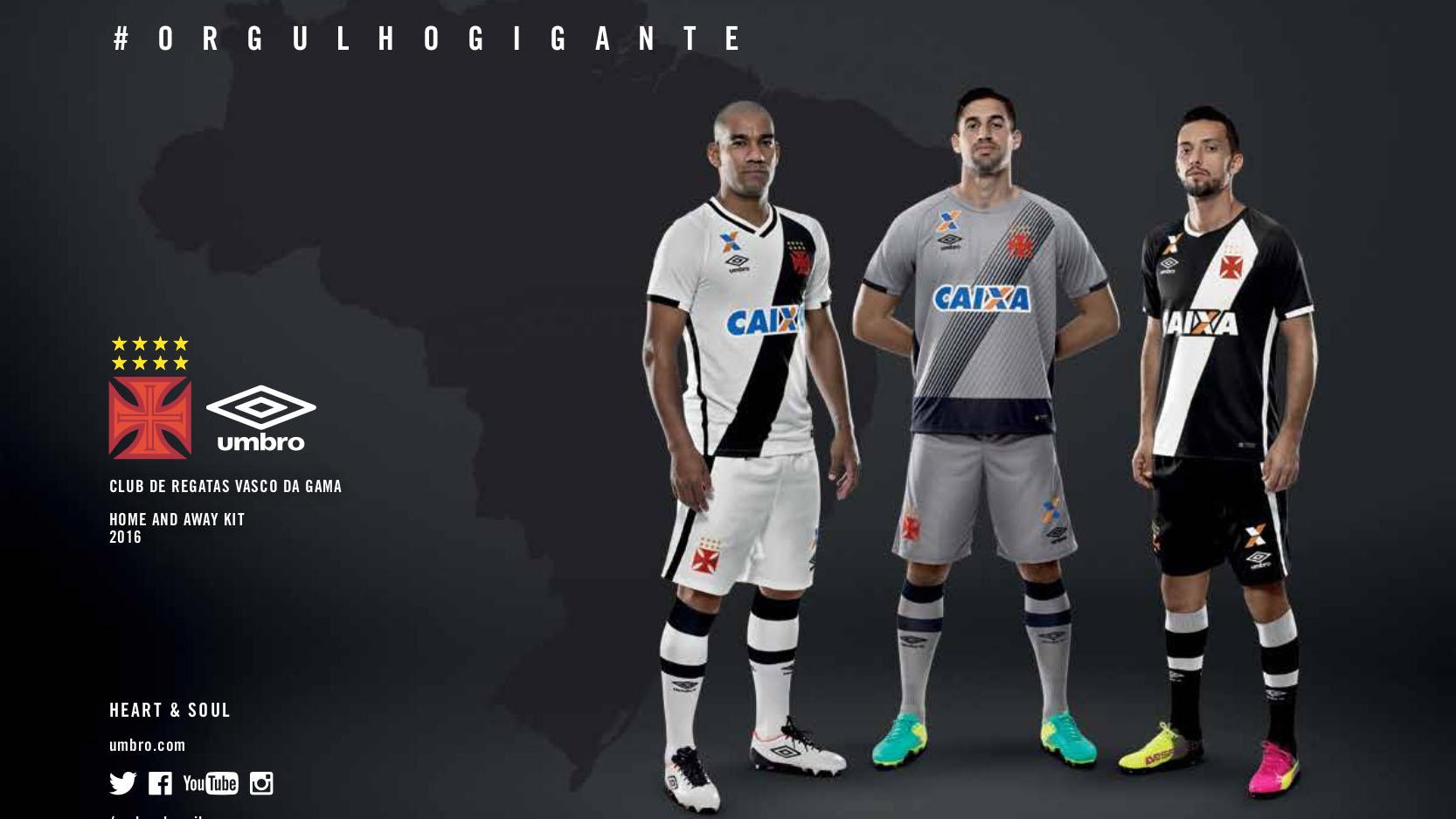6d9a2bf8db Vasco apresenta suas novas camisas para 2016 17