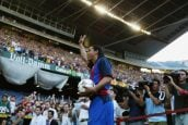 Ronaldinho of Brazil waves to the fans